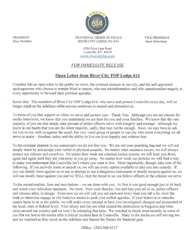 Band of Brothers What an Open Letter on Behalf of Louisville PD