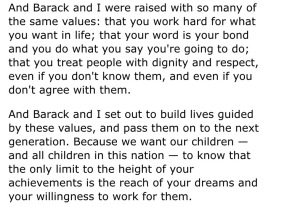 Excerpt from the First Lady's 2008 speech